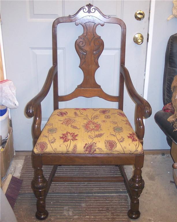 Walnut Carved Armchair Dinette Chair gold print broccatelle seat