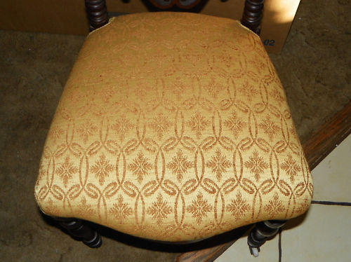 Walnut Pierce Carved  Parlor Chair Entry Chair  gold damask