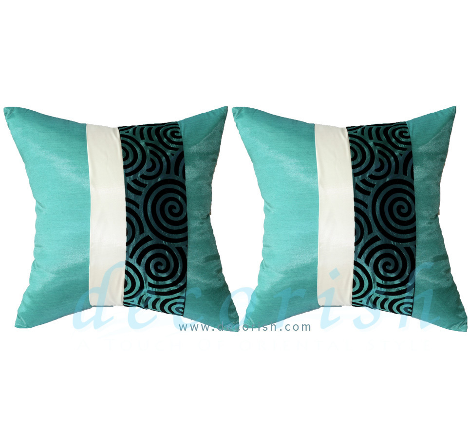2 Silk Contemporary Decorative Pillow Covers for Couch Sofa Bed TURQUOISE Spiral - Pillows