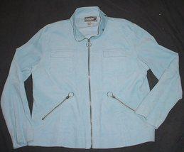 RAVE Baby Blue  Crushed Cord STRETCH  Full  Zip Jacket  sz  XL  EUC   NI... - $7.99