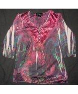 STYLE & CO. SUBLIMATION 3/4 sleeve tunic top sz.PS EUC - $4.99