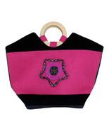 Leather Handbag - Wooden Circles Handles, Freestanding, Pink - Size - 17... - $100.00