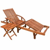 vidaXL Solid Acacia Wood Sun Lounger w/ Side Table Daybed Chaise Outdoor... - $121.99