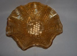 Antique Imperial Glass Carnival Marigold Ruffled Grape Bowl NICE - $54.45