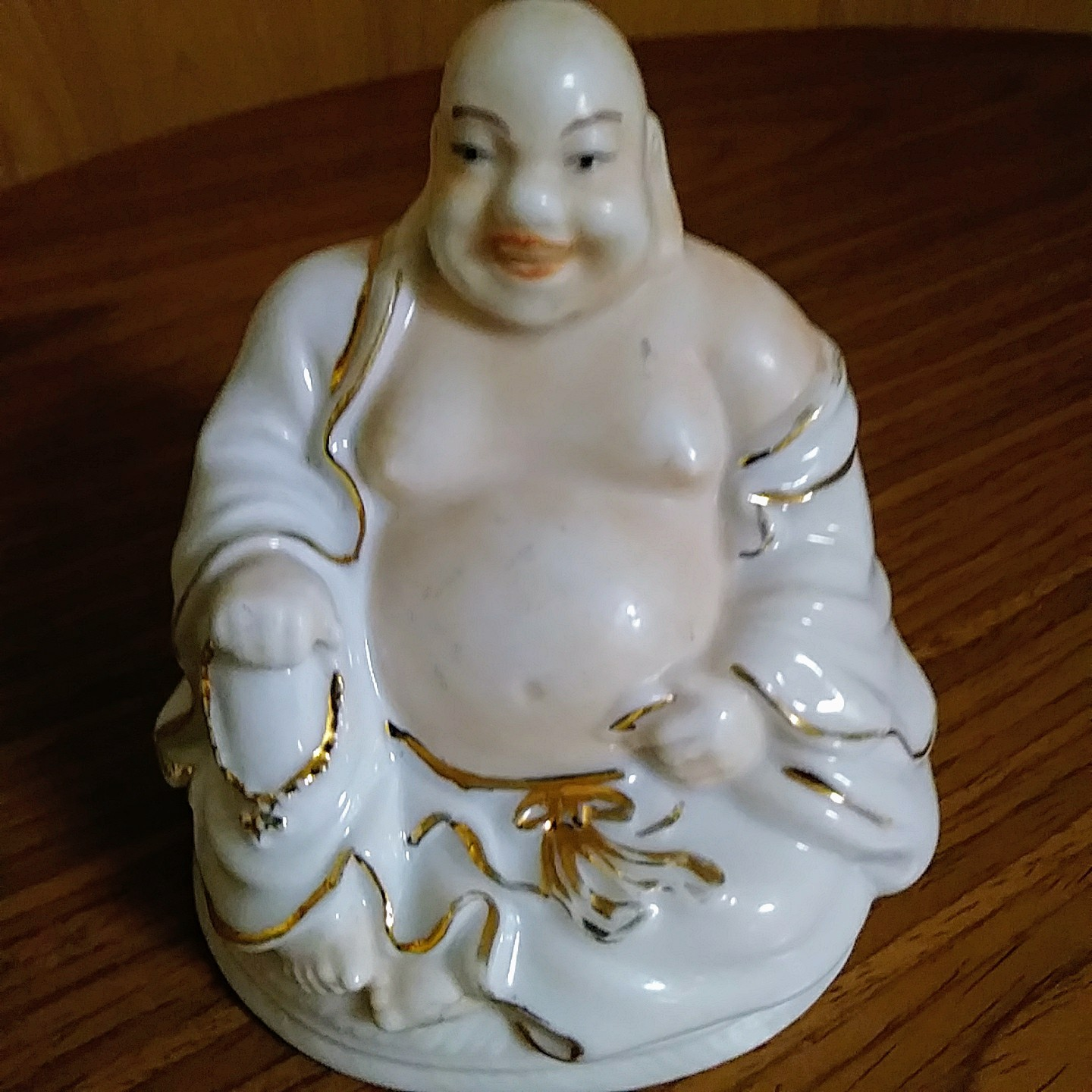 Monti Llardo Porcelain Design in Spain Happy Buddha Figurine White Gold Trim Han