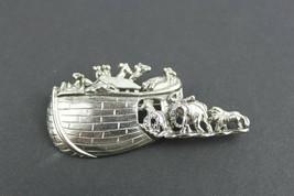 Vintage Pin Brooch Noah's Arc 3-D Silver Tone  - $10.10