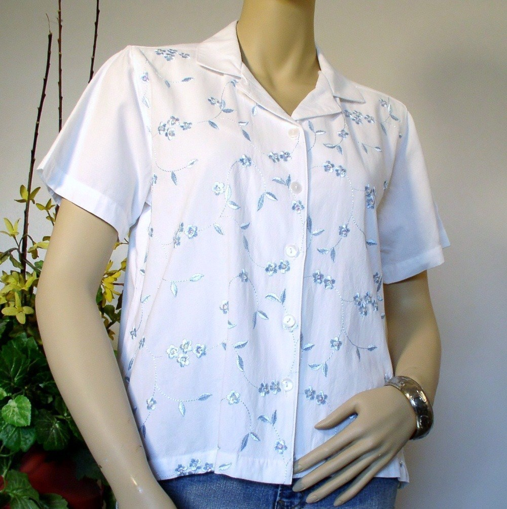 Blouse Jane Ashley Cotton Embroidered Size Small