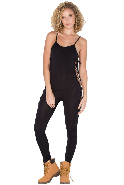 Black Reveal Assets Lace-up Jumpsuit