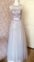 GRAY A-line Embroidery Flower Sweetheart Tulle Gray Bridesmaid Wedding Dresses image 2