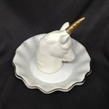 Unicorn Ring Holder Horn Trinket Tray Dish White Porcelain Gold Trim Fan... - $7.75