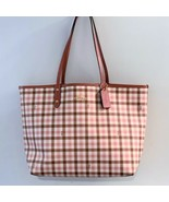 Coach Reversible City Tote ~ Gingham Print Pink Rouge ~ PVC & Leather NW... - $134.95