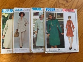 Vogue Vintage Patterns Lot Of 4: 1065 1258 Beene, 2827, 2897 Dior Sz 12, 14 - $59.39