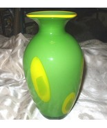 Decorative Art Glass Vintage Vase-Lime Green with Yellow Circles - $115.00