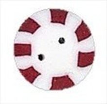 "Large Red Peppermint 4415L handmade clay button .5"" JABC Just Another Bu... - $1.40"