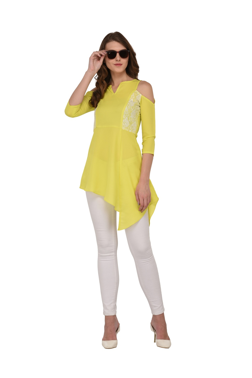 Tunics for women Moss Tunics Crepe Lime Green Cold Shoulder top Christmas gifts