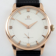 Omega 18k Rose Gold Vintage Hand-Winding Watch Cal. 267 w/ Black Leather... - $3,217.49