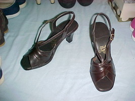 "Hush Puppies OpenToe Slingback Brown 3""heels 7M-NOS - £8.08 GBP"
