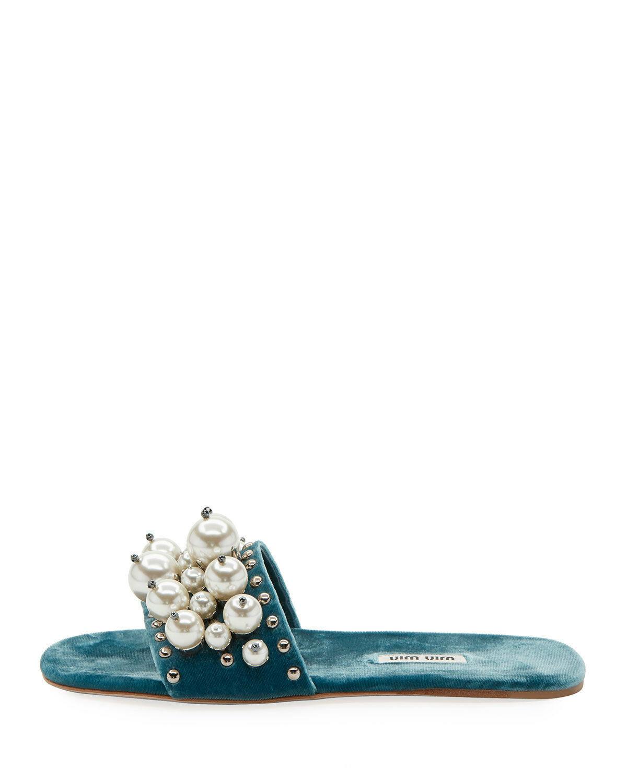 Miu Miu Pearly Velvet Slide Sandals Size 38.5 MSRP: $775.00