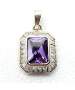 Sterling Silver 925 Purple & Clear CZ Pendant FREE Shipping - $14.99