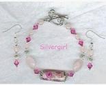 Rose quartz crystal lampwork silver bracelet and earring set thumb155 crop