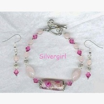 Rose Quartz Crystal Lampwork Silver Bracelet and Earring Set - $19.99