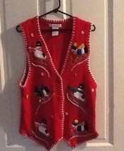 Victoria Jones Christmas Ugly Sweater Vest Size Medium Red Snowmen - $9.61