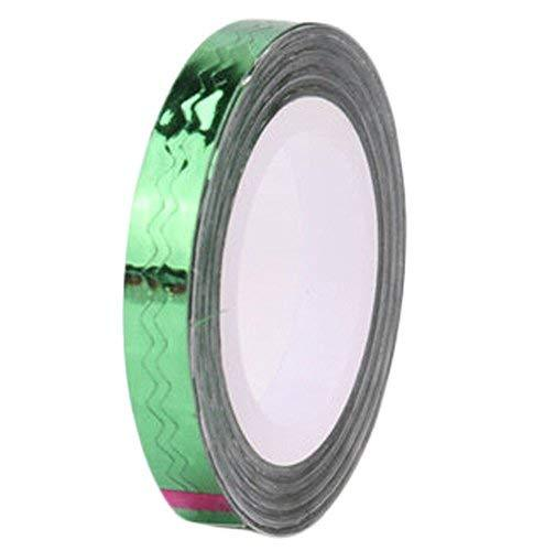 4 Rolls Wave Pattern Striping Tape Line Nail Art Decoration Sticker, Green