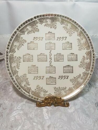 """VINTAGE 10"""" Porcelain Collector Plate 1957 CALENDAR 22 KT ADVERTISING GATELY'S"""