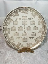 "VINTAGE 10"" Porcelain Collector Plate 1957 CALENDAR 22 KT ADVERTISING GATELY'S"
