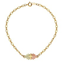 Delicate Cross 10K Bracelet - Black Hills Gold - €76,18 EUR
