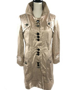 SHOW TIME Women's Trench Coat Jacket Shiny Rose Gold w Chrome Buttons Sz... - $16.86