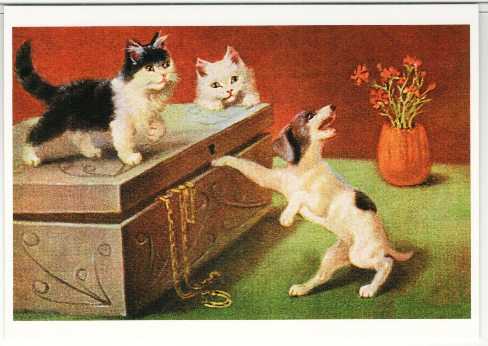 Primary image for CAT on box and DOG by Sophie Sperlich Germany RARE 1000 copy Russia Postcard