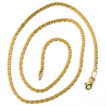 18K YELLOW GOLD CHAIN, 2.5mm, 16 INCHES, FLAT TIGER EYE LINKS, MADE IN ITALY image 2