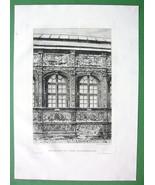 ORIGINAL ETCHING Print - France Rouen Bourgtheroulde Mansion Facade Art ... - $16.83