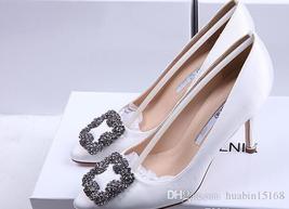 Mercerized denim genuine SILK wedding shoes silver Rhinestone High heels... - $66.99+