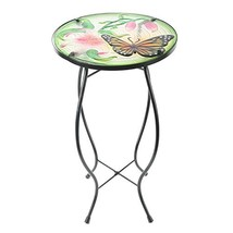 CEDAR HOME Side Table Outdoor Garden Patio Metal Accent Desk with Round ... - $69.52