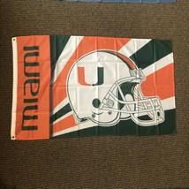 Miami Hurricanes Football New Flag 3' x 5' Metal Grommets - $24.74