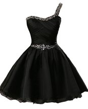Short One Shoulder Chiffon Beaded Homecoming Party Dress,Little Back Dre... - $114.00