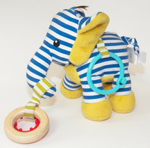 Manhattan Toy Blue Striped Plush Elephant Teether Rattle Baby Toddler Ye... - $12.82