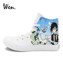Wen Shoes Anime Design Hand Painted Black Butler Ciel Sebastian Canvas S... - $79.00