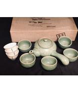 "Japanese Tea STea Pot 4-1/2"" Wideet 9 PC Green Teapot and Cup Set - $33.87"