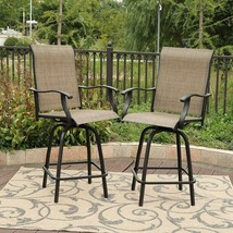 Outdoor Sling Swivel Bar Stools 2 Pc Steel Mesh Fabric Backrest Brown Pa... - $337.40