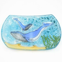 Fused Art Glass Ocean Humpback Whale Design Oval Soap Dish Handmade Ecuador