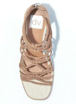 DV Women's Taupe Faux Suede Adira Strappy Knotted Zippered Back Heeled Sandals  image 3