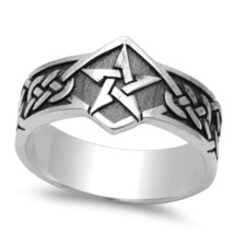 Sterling Silver Men's Celtic Design Star Ring - $45.99