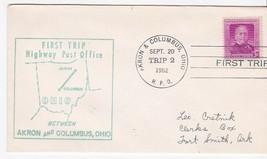 FIRST TRIP H.P.O. AKRON OHIO & COLUMBUS OHIO SEPT 20 1952 TRIP 2 - $1.78