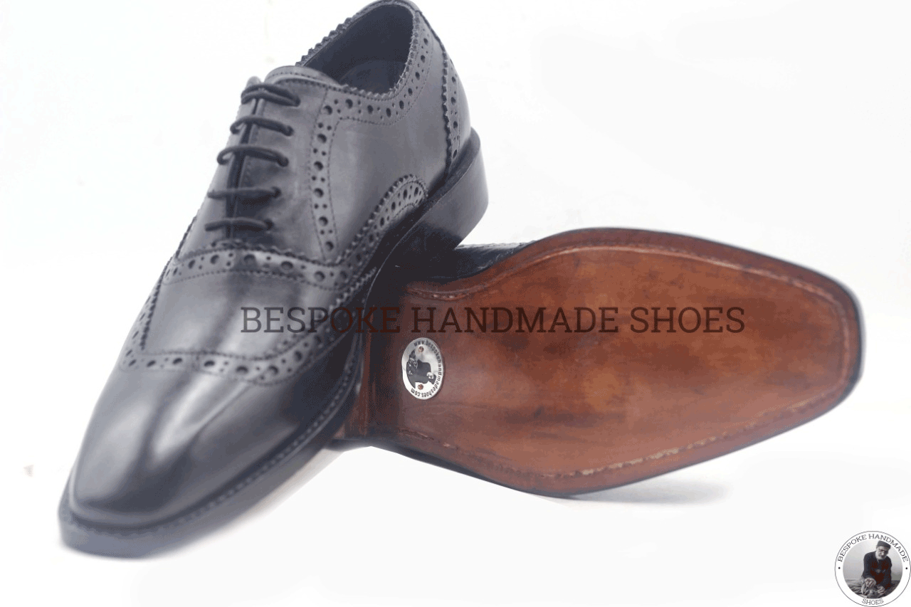 Women/'s Bespoke Handmade Genuine Leather Oxford Brogue Wingtip Lace-Up Shoes