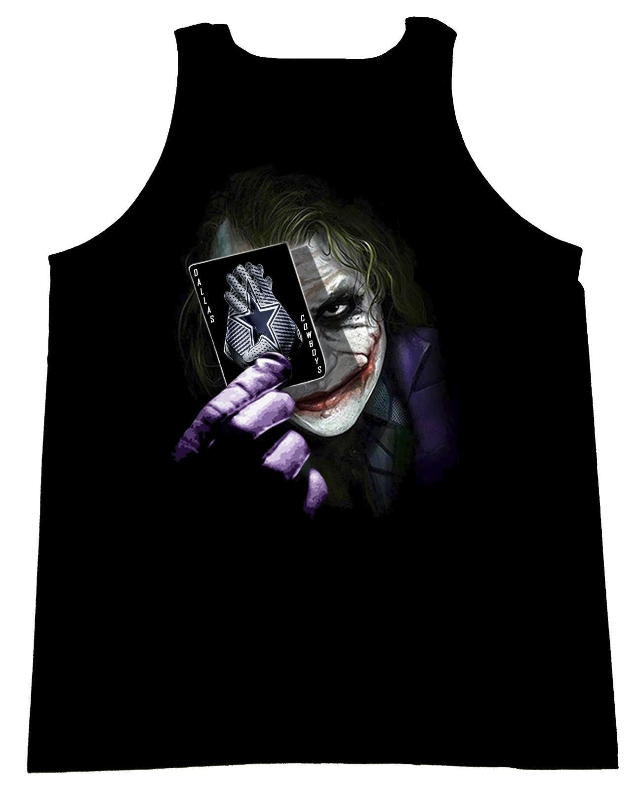 Primary image for The Joker With Card and The Cowboys Team Gloves From Dark Knight Men's Tank Top