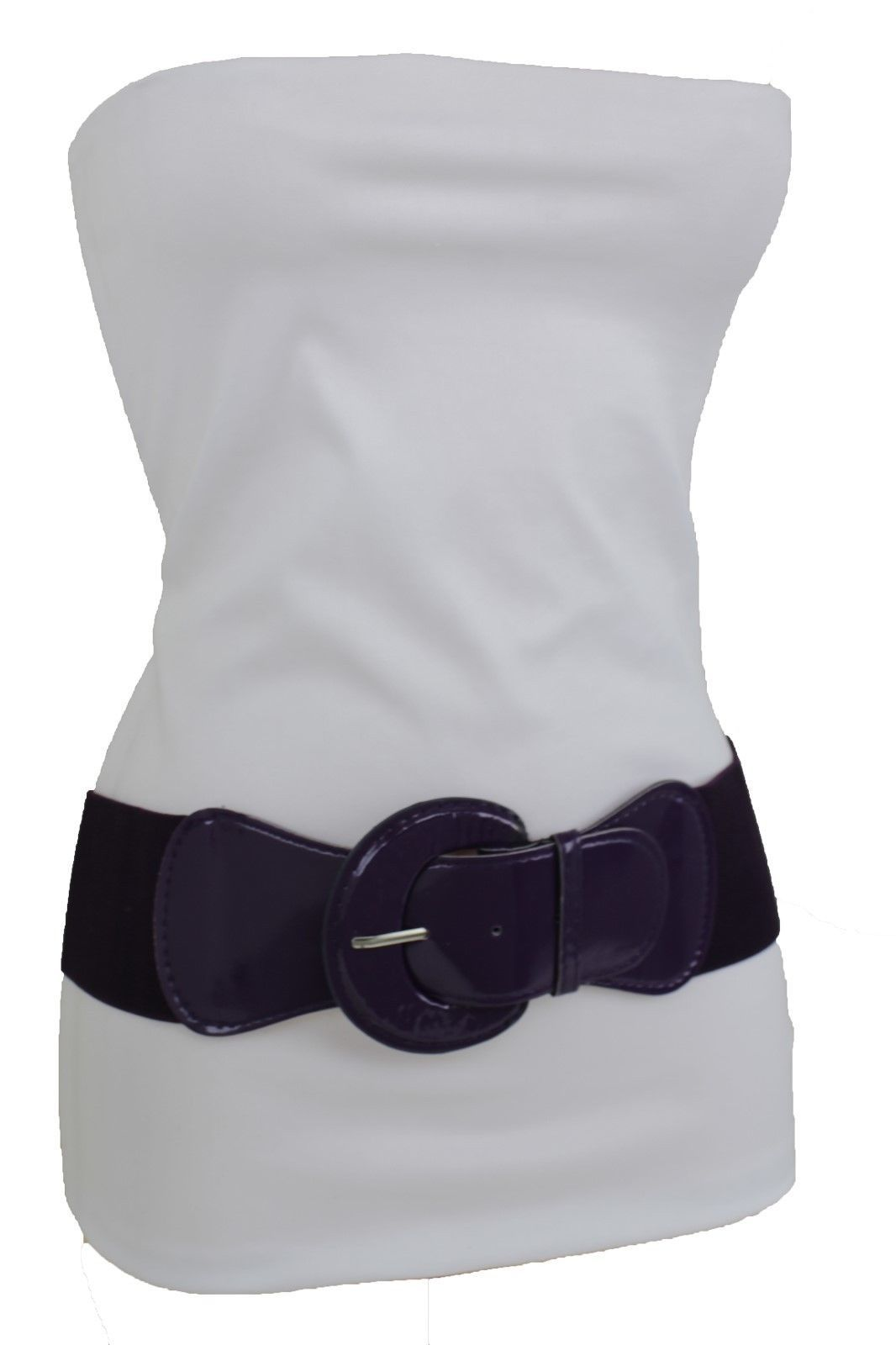 Women High Waist Hip Stretch Dark Purple Waistband Belt Gold Round Buckle S M