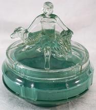 L.E. Smith Art Deco Figural Woman Annette & Dogs Green Painted Powder Gl... - $62.50